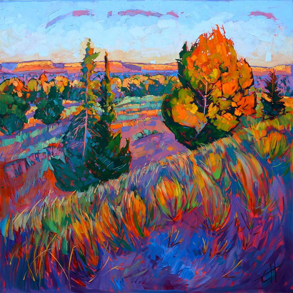 Oil Landscapes Transformed into Mosaics of Color by Erin Hanson  http://www.thisiscolossal.com/2014/04/oil-landscapes-transformed-into-mosaics-of-color-by-erin-hanson/