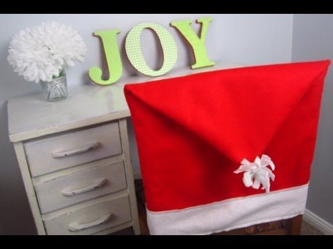 Spice Up Your Dining Room Decor This Season With Homemade Santa Hat Chair Covers Sew Together These Easy Holiday Decorations Felt And Thread