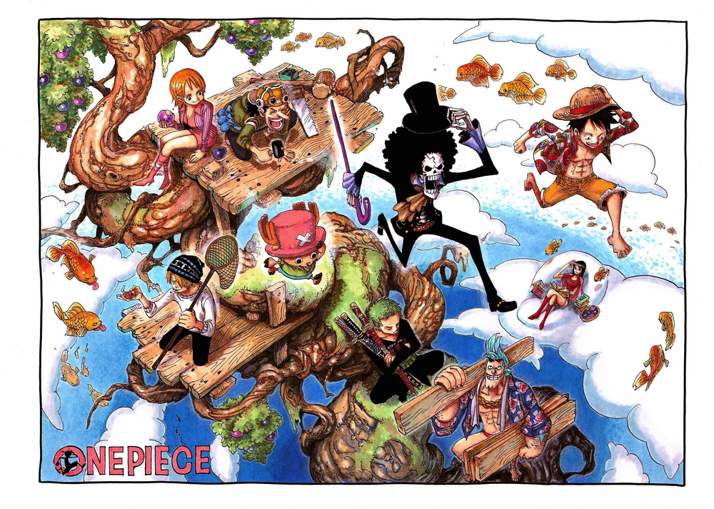 One Piece Color Spread : Chapter 489 - First with Brook!! (One of my favorites! Papa Franky & his student Usopp building a tree fort for everybody!)