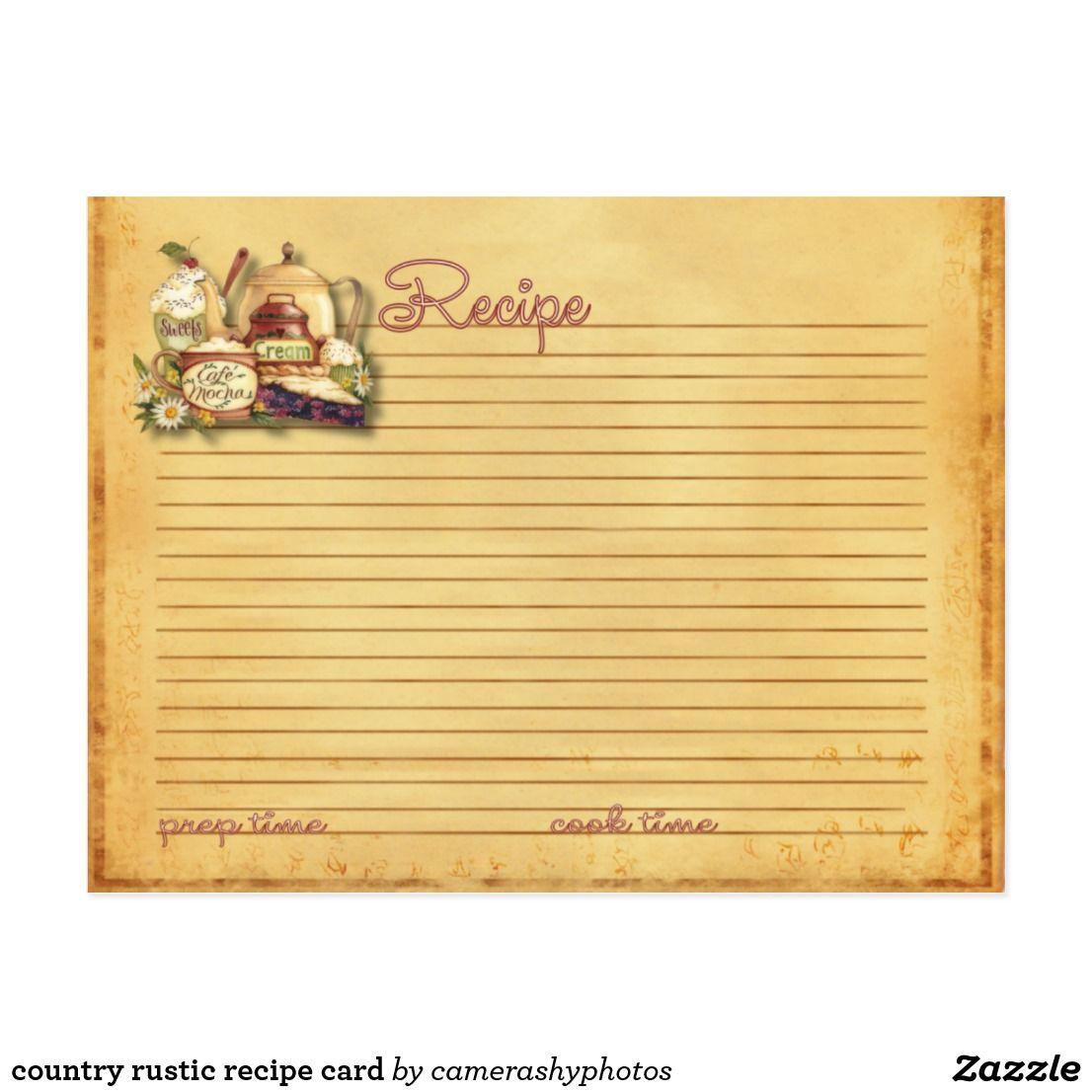 country rustic recipe card