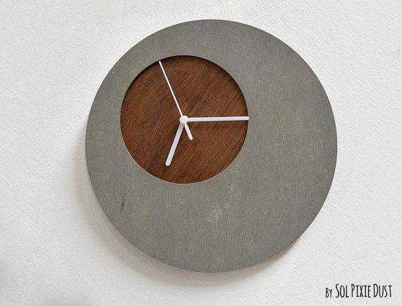 Moderne Wanduhr concrete circle wall clock with wooden modern wall clock