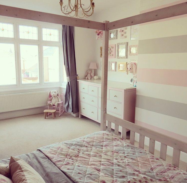 Elsa S Bedroom Makeover After Striped Walls Bedroom Feature