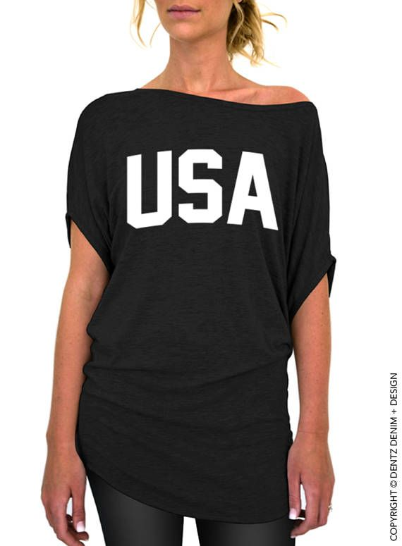 7617baf080118 USA Black Slouchy Tee White Ink - Patriotic 4th of July Slouchy T-Shirt