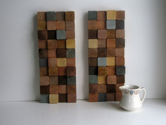 Modern Wood Block Wall Art Set BLUE by HeartlandWoodshop on Etsy $89.99 & Modern Wood Block Wall Art Set BLUE by HeartlandWoodshop on Etsy ...