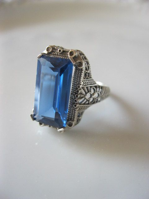 Antique Victorian Ring Sterling Silver Art Deco Mount with ...