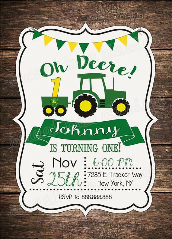 John Deere Tractor Birthday Invitation Rustic Wood Birthday Green