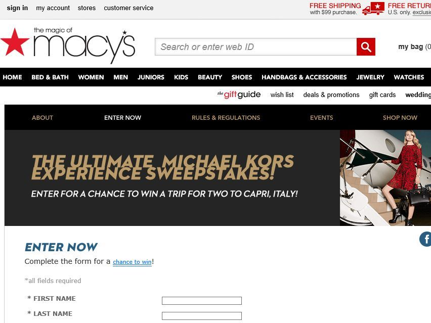 "Enter the Macy's ""Kors Week"" Sweepstakes for a chance to win a 5-day/4-night trip for two to Naples, Italy!"
