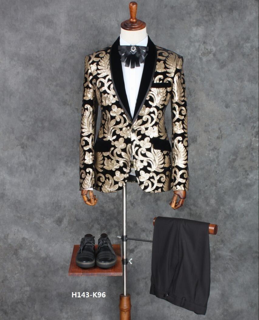 fae1718a1600f3 Günstige S 4XL! männer muster anzug bühne kostüme dünnen anzug bräutigam  jäten kleid party anzug