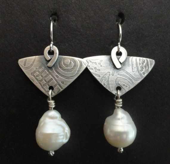 Sterling Silver And White Baroque Pearl by gailheftimetalsmith, $85.00