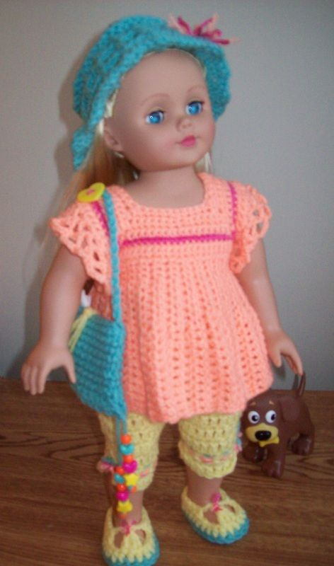 Free 18 Doll Crochet Pattern For A Summer Outfit Including A Hat