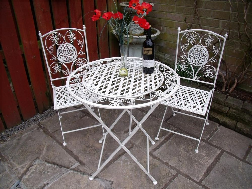 garden furniture bistro set table and chairs patio shabby chic style white 1