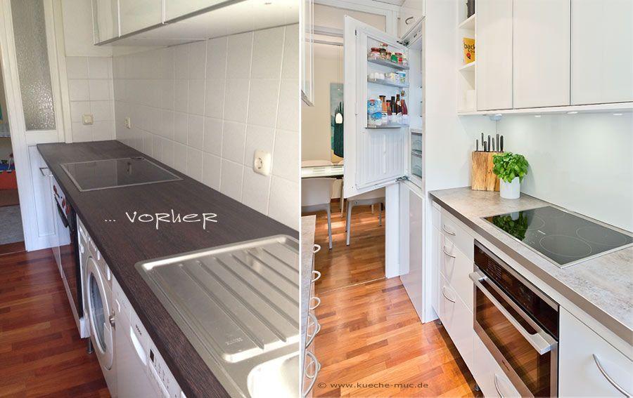 k chenr ckwand f r weisse k che gestalten mit hpl hochglanz platte r ckwand k che vorher. Black Bedroom Furniture Sets. Home Design Ideas