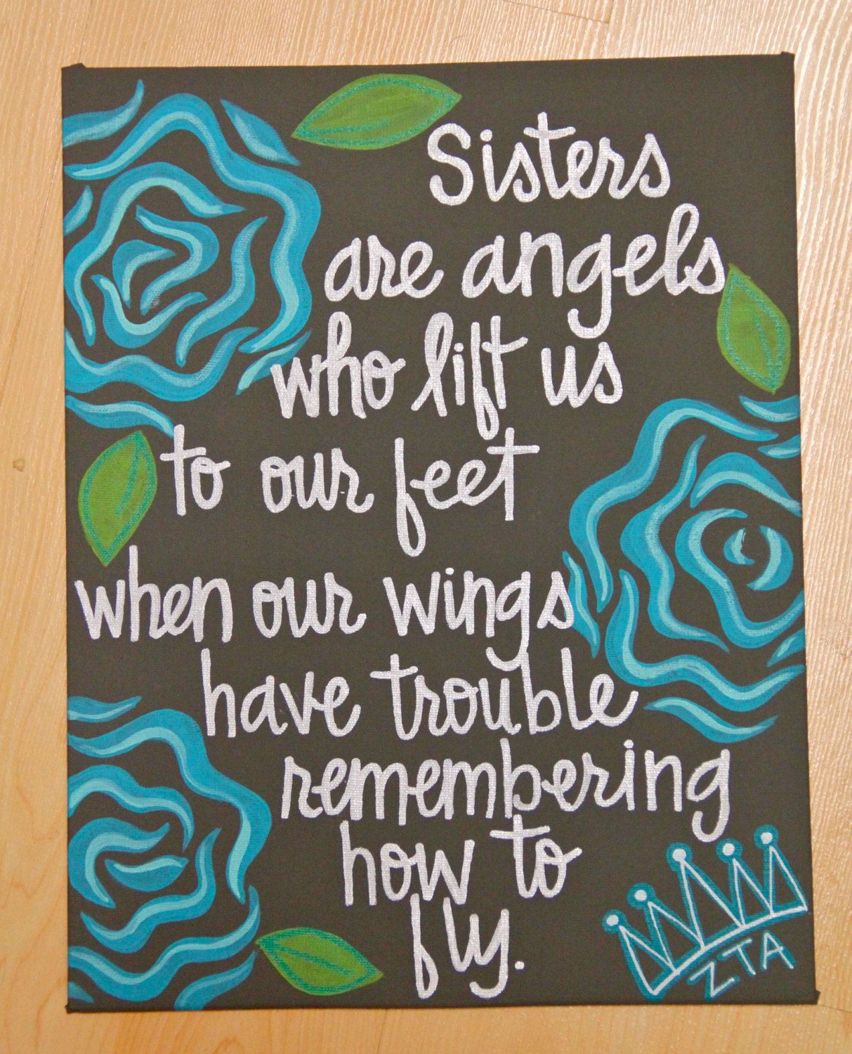 "Sisters Love Quotes: Sisters Are Angels... Canvas Painting 11""X14"". $30.00, Via"