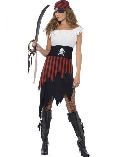 Photo of Piratin Damenkostüm Seeräuberin weiss-rot-schwarz, günstige Faschings Kostüme bei Karneval Megastore