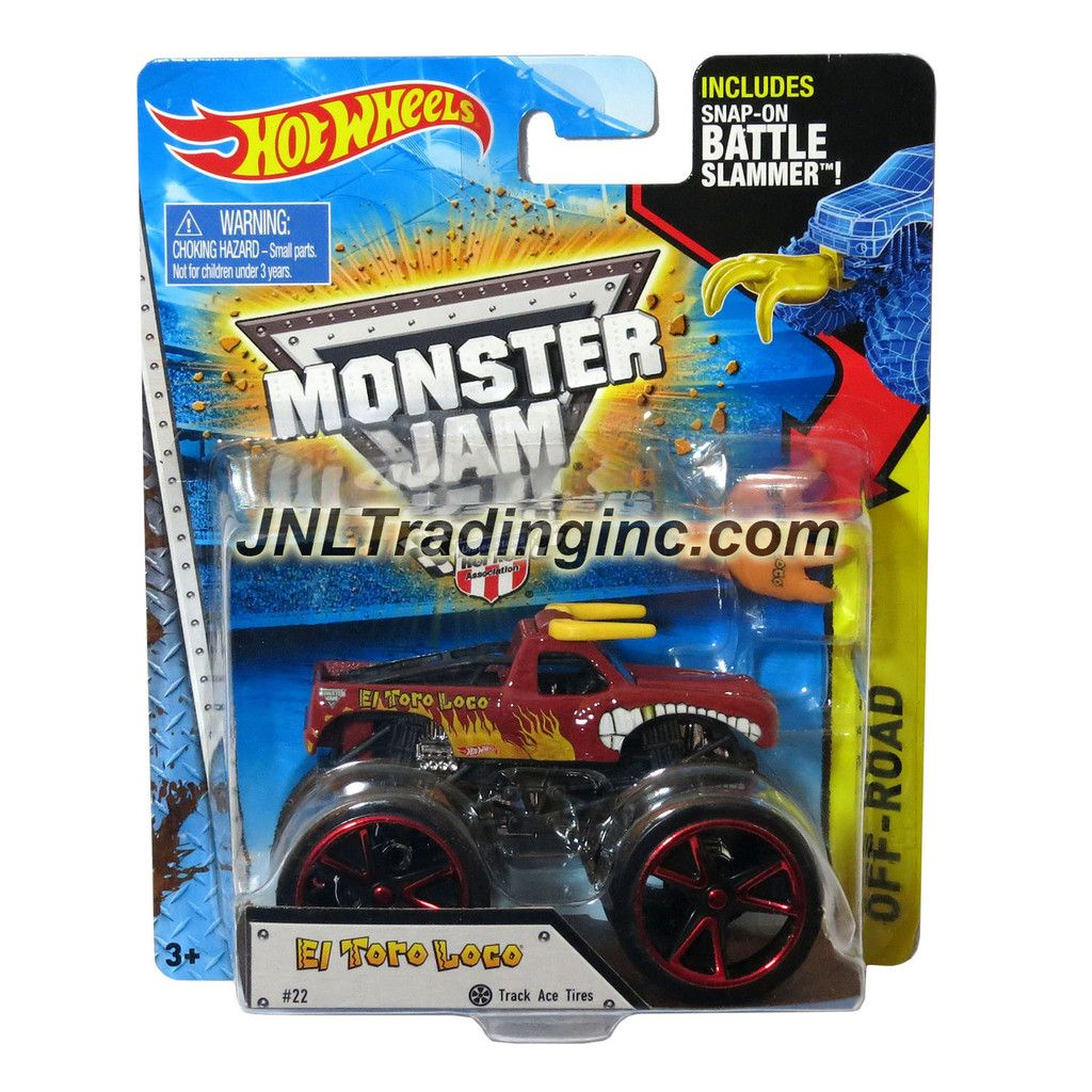 "Hot Wheels Year 2014 Monster Jam 1:64 Scale Die Cast Truck OFF-ROAD Series - Red EL TORO LOCO (CFT61) with Track Ace Tires and Snap-On Battle Slammer (Dimension : 3-1/2"" L x 2-1/4"" W x 2-1/2"" H)"