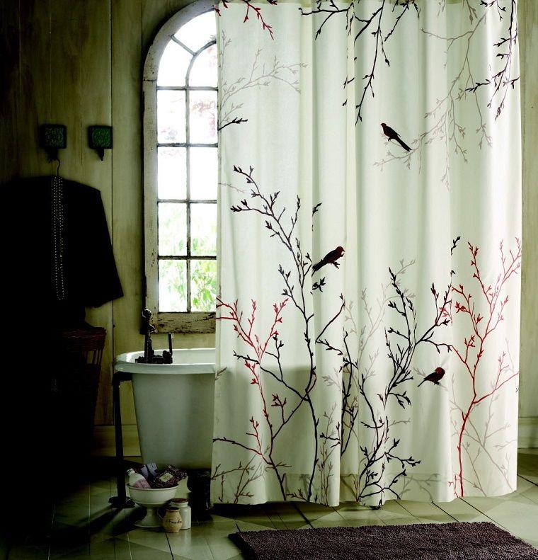 tende bagno-uccellini-rami | Tende bagno | Pinterest