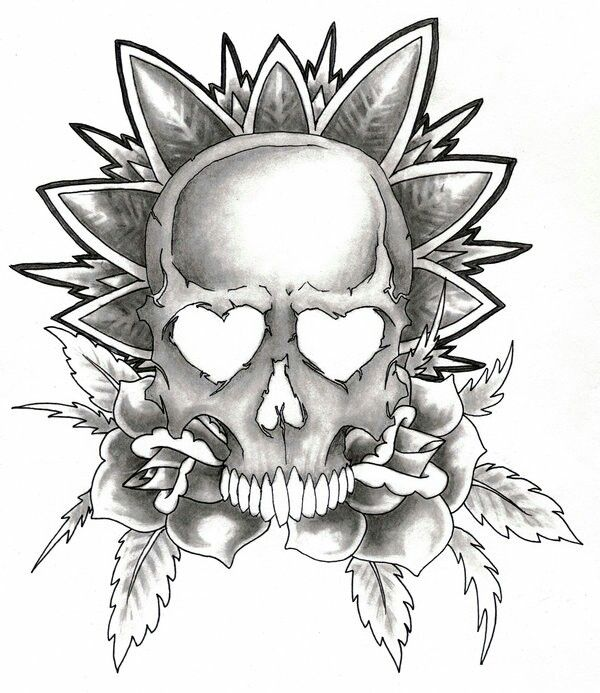 Easy To Draw Skulls And Roses