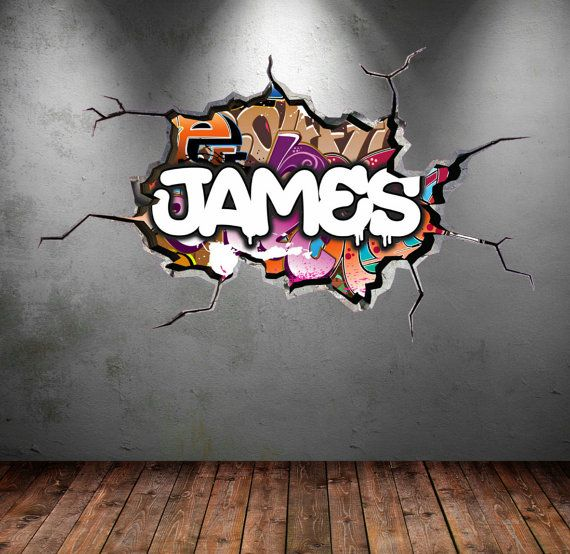 Personalised Graffiti Name Wall Decal Cracked Wall 3d Vinyl Wall