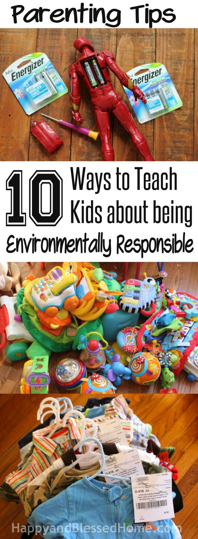 Parenting Tips with 10 Ways to Teach Kids about being Environmentally Responsible by reusing, recycling & conserving. Plus learn about Energizer Eco Advanced Recycled Batteries from HappyandBlessedHome.com #BringingInnovation #CollectiveBias #ad #parentingtips #teachingkids #conserve #reuse #recycle