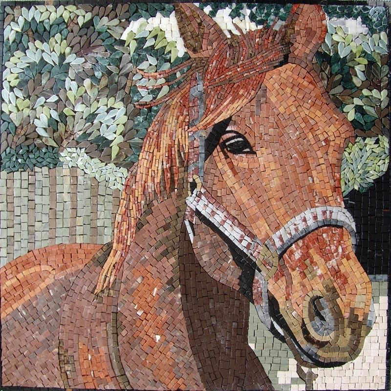 Horse Mosaic Art Wall Mural  An attractive Horse Marble Mosaic Art fully handmade and composed of all natural stones and hand-cut tiles.
