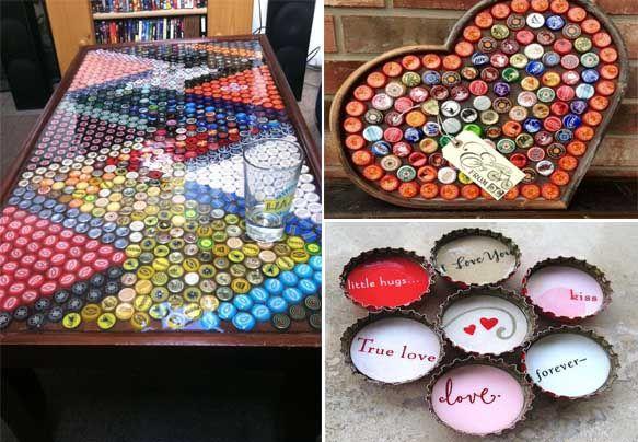 50 fotos e ideas para decorar con chapas de botellas for Ideas para decorar botellas