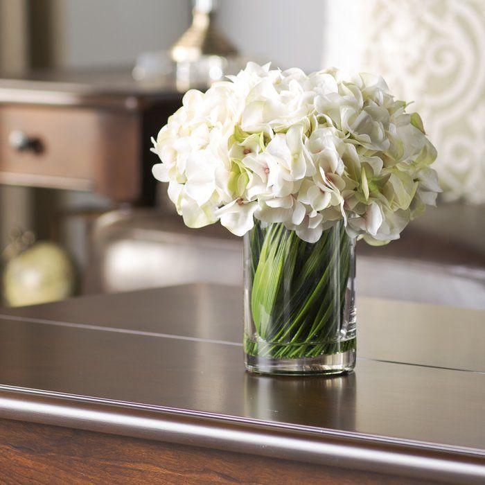 Collingwood Hydrangea Floral Arrangement In Vase Floral Arrangements Hydrangea Centerpiece Acrylic Vase
