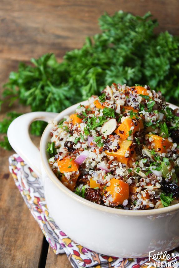 Fall Quinoa Salad with Roasted Butternut Squash and Golden Berries. #vegan #glutenfree #soyfree
