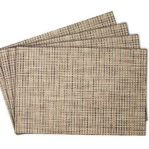 Mint Cook Washable Heat Resistant Placemats For Dining Table Or  Kitchen,Easy To Clean Woven Vinyl Place Mats,Reversible And Elegant  Placemats,(Beige, ...