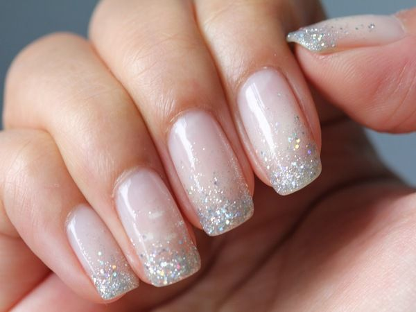 Mother Of Pearl Nails With Glitter Tips