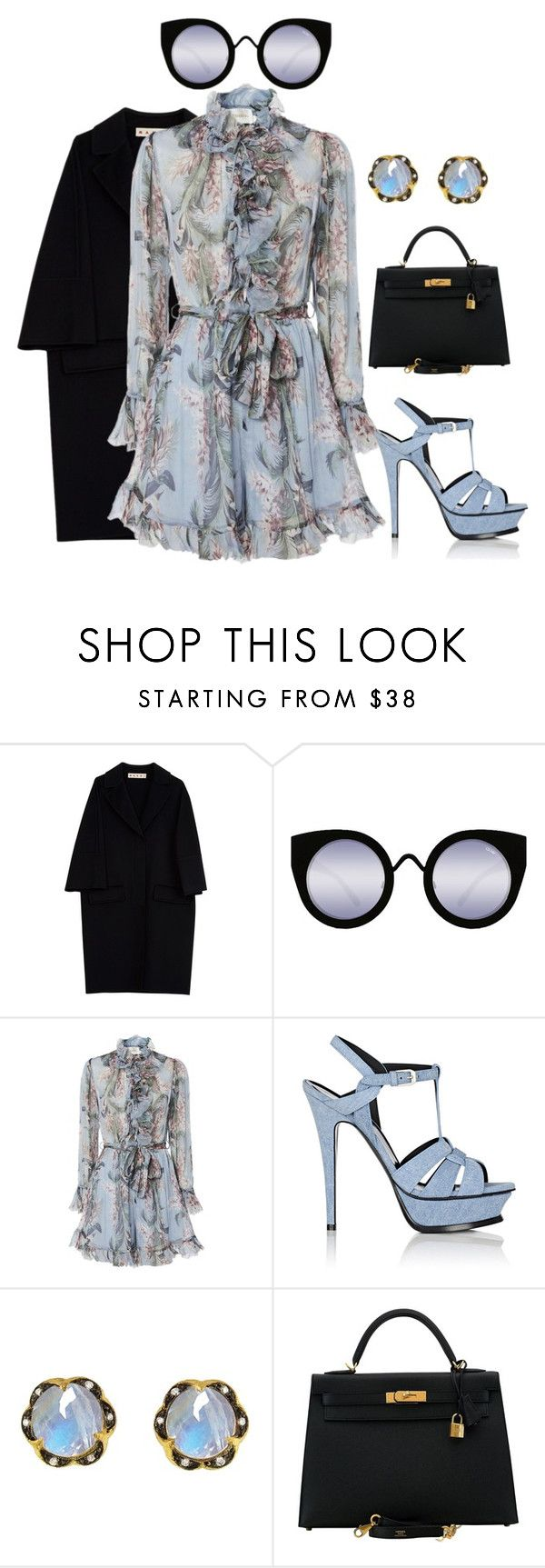 """""""Untitled #1612"""" by beng-gallo on Polyvore featuring Marni, Quay, Zimmermann, Yves Saint Laurent, Cathy Waterman, Hermès, YSL, hermes and rompers"""