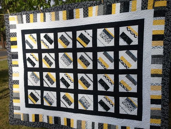 Black And White Quilt Made To Order Modern Quilts Yellow Quilts