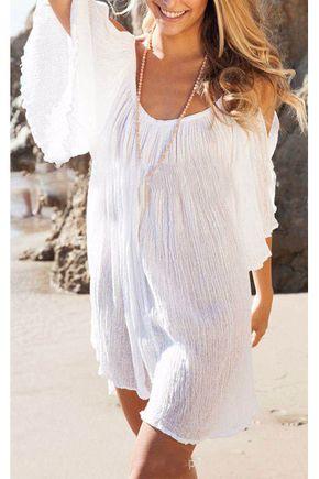 Vestidos Femininos Praia Poliéster Cor sólida Decote em V
