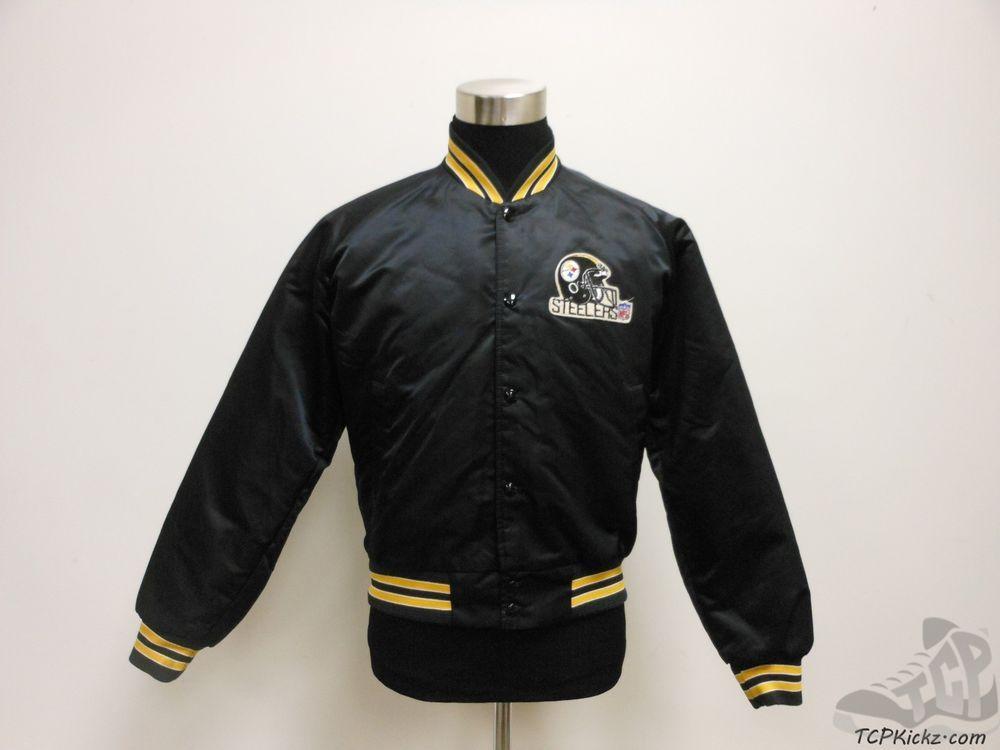 Vtg 80s 90s Chalk Line Pittsburgh Steelers SNAP Button Up Satin Jacket sz M  SEWN  ChalkLine  PittsburghSteelers  tcpkickz 2621768b6