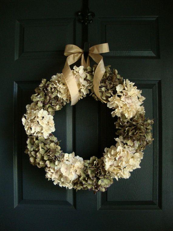 Antiqued Look Green & Off White Hydrangea Wreath - Summer / Fall Wreath Ideas - Wedding Wreath