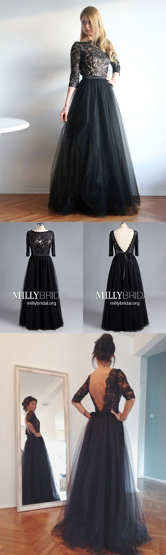 Modest long prom dresses with sleevesblack prom dresses alinesexy