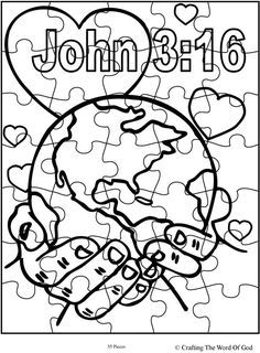 God So Loved The World Puzzle Activity Sheet Sunday School