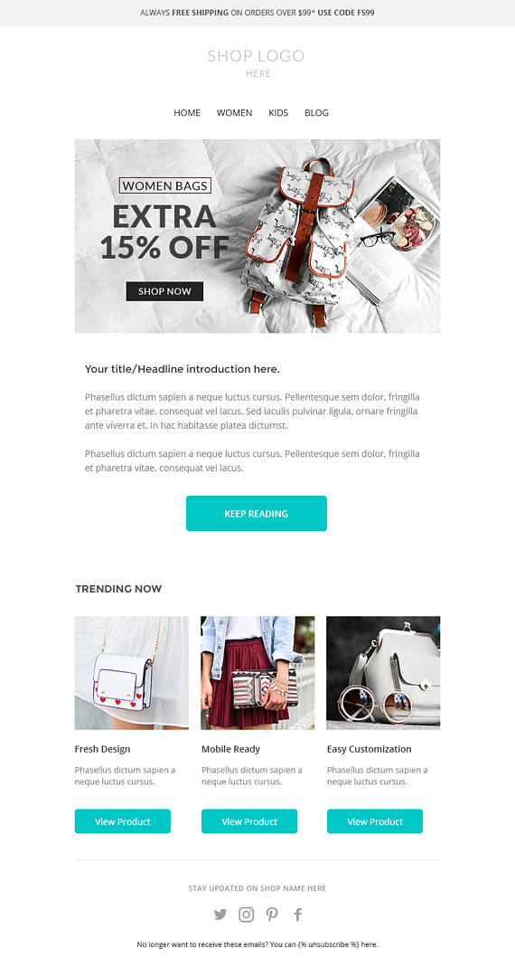Mailchimp newsletter template, Responsive Enhancement email template