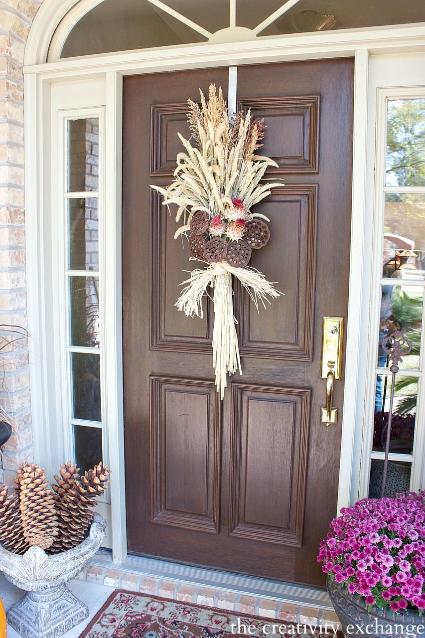 Tutorial for making an easy fall swag wreath using dried naturals. The Creativity Exchange & Easy Fall Door Swag Using Dried Naturals | Fall swags Wreaths and ... pezcame.com