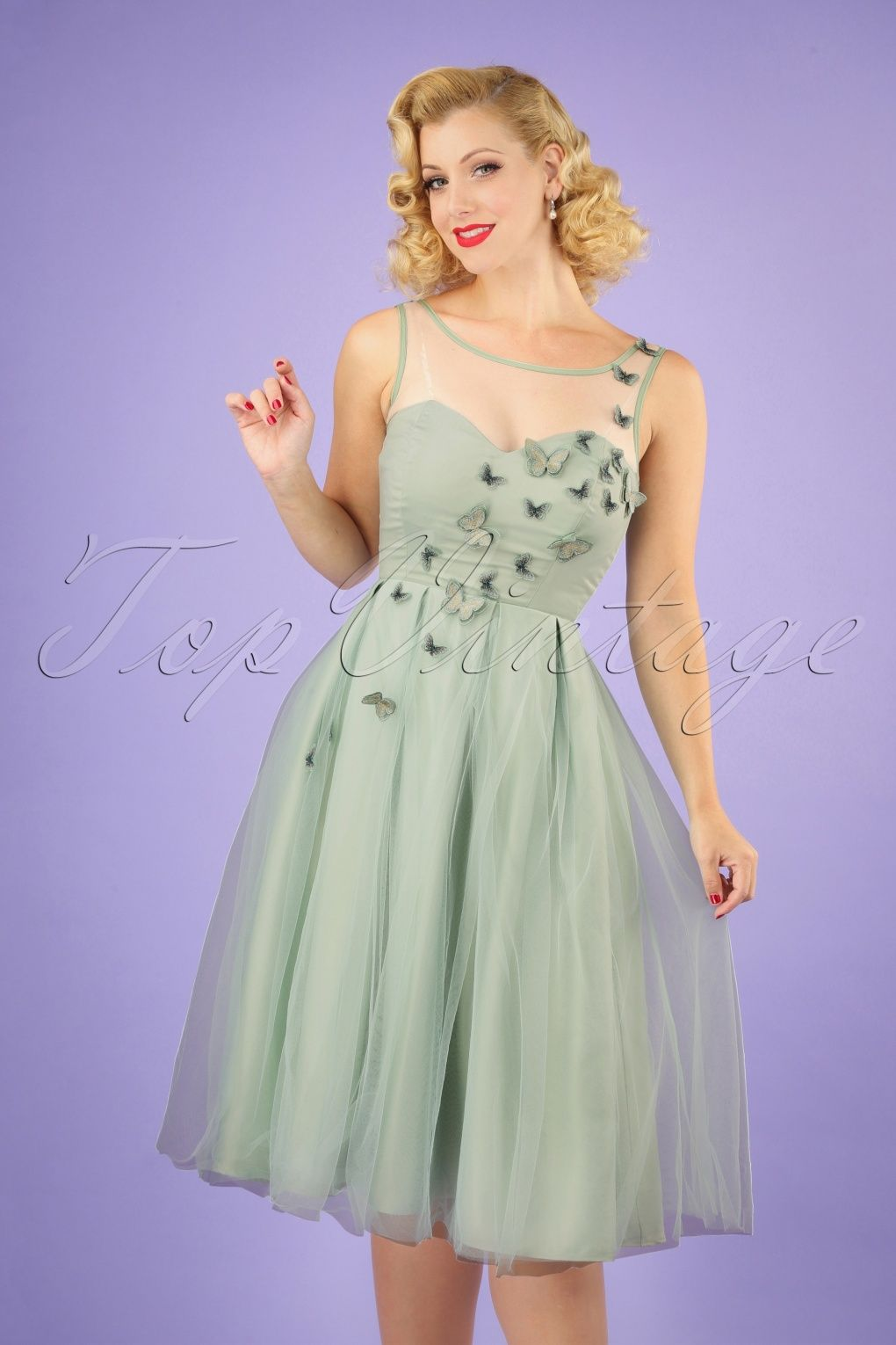 Verbazingwekkend Collectif Clothing 50s Tiana Butterfly Occasion Swing Dress in GI-32