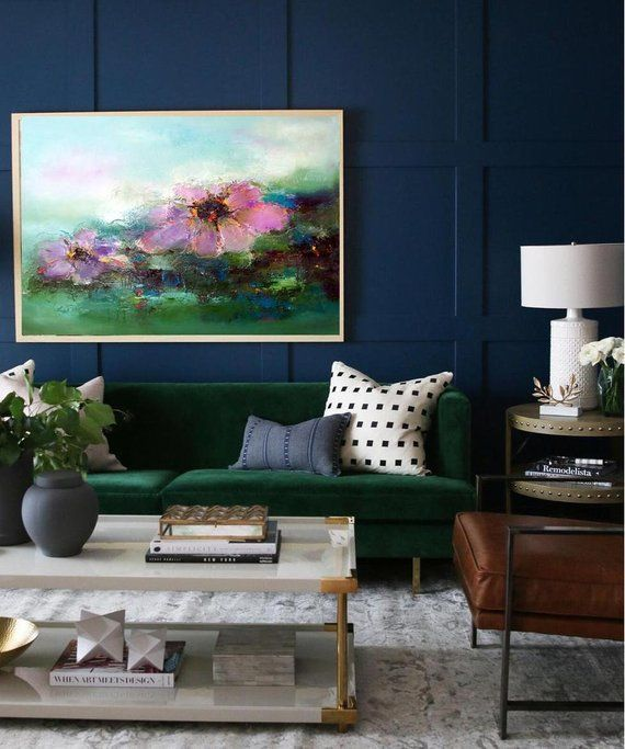 Abstract landscape art print blush teal flowers is part of Living Room Rug Contemporary - KatyaFineArt