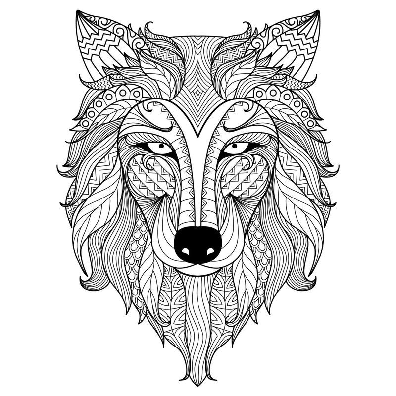 Hard Wolf Coloring Pages For Adults Animal Coloring Books Mandala Coloring Books Animal Coloring Pages