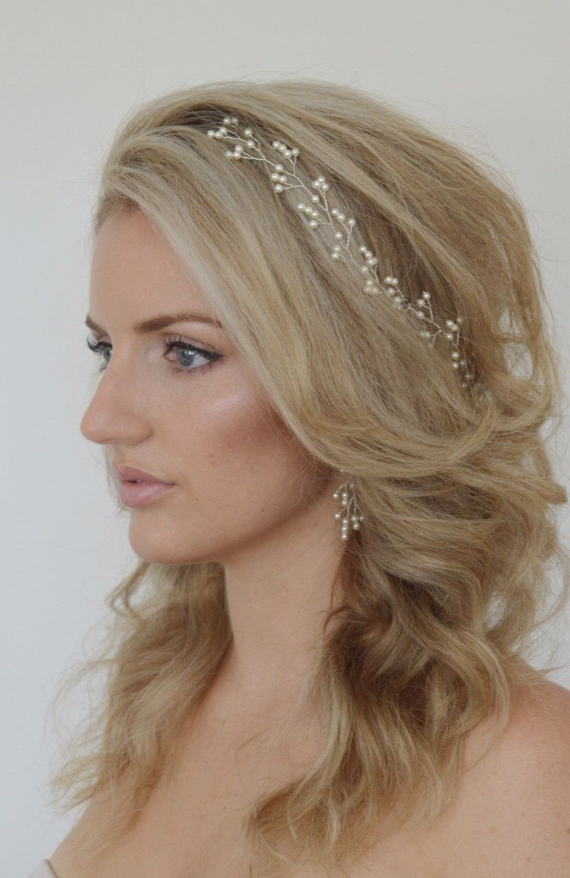 baby's breath pearl bridal hair vine,pearl bridal headpiece