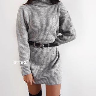 f78829ea5b6 Turtleneck jumper x Over the knee boots ✓ 😍😍    🔎 Jumper dress ...