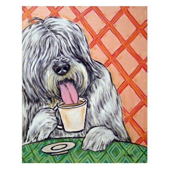 smooth FOX TERRIER dog art PRINT gift JSCHMETZ modern sky 11x14