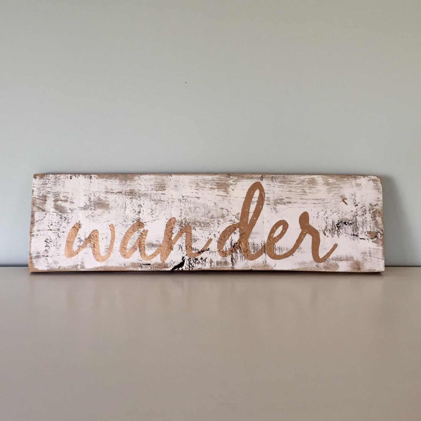 Sign - Wander - Gold - Reclaimed Barn Wood | Signs | Pinterest
