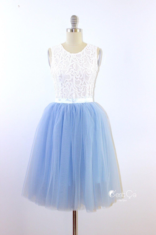 Colette serenity blue tulle skirt bridesmaids skirt soft tulle