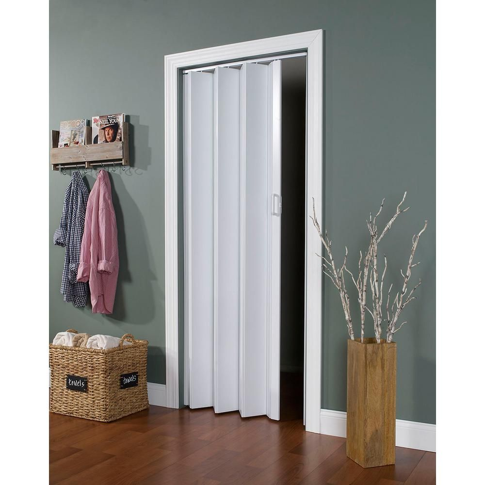Spectrum 48 In X 96 In Express One Vinyl White Accordion Door Ex4896wh The Home Depot In 2020 Accordion Doors Folding Doors Wood Doors Interior