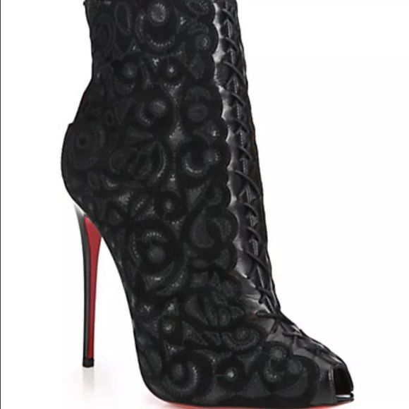3c0609ee905 CHRISTIAN LOUBOUTIN PEEPTOE BOOTIES Brand new with box, dust bag ...