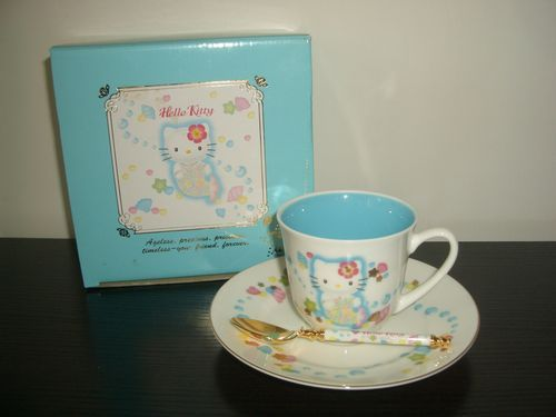 1999 Sanrio Hello Kitty 25th Cup Saucer Spoon Set | eBay