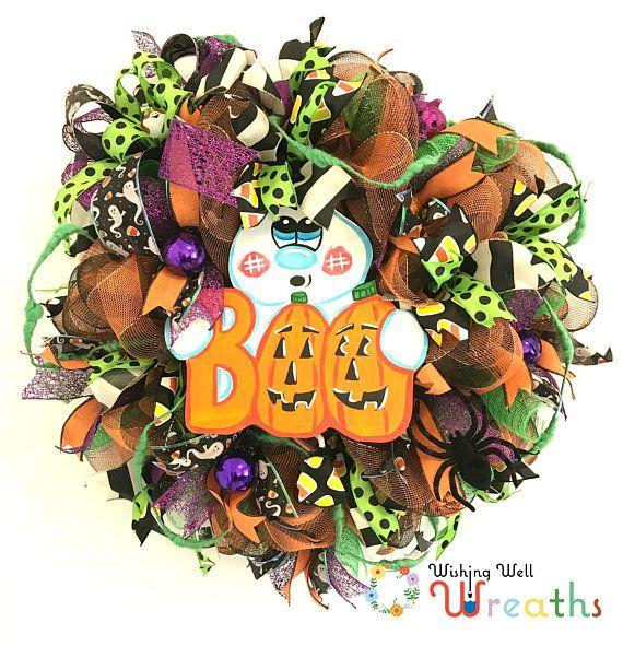 Halloween Mesh Ghost Wreath, Cute halloween decor, Ghost Wreath